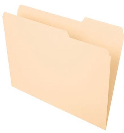Globe-Weis 18 Point 2 Fasteners Legal Size 1//3 Cut Tabs Manila Folders 250 pc