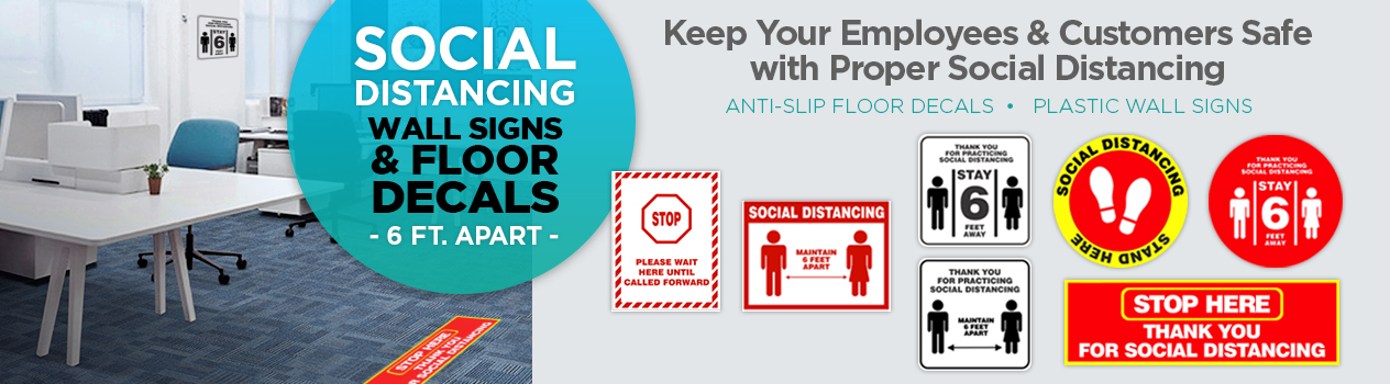 Social Distancing Decals and Wall Signs